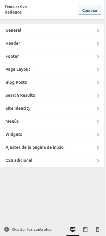 Menú principal de configuración del tema Kandence_Theme de WordPress